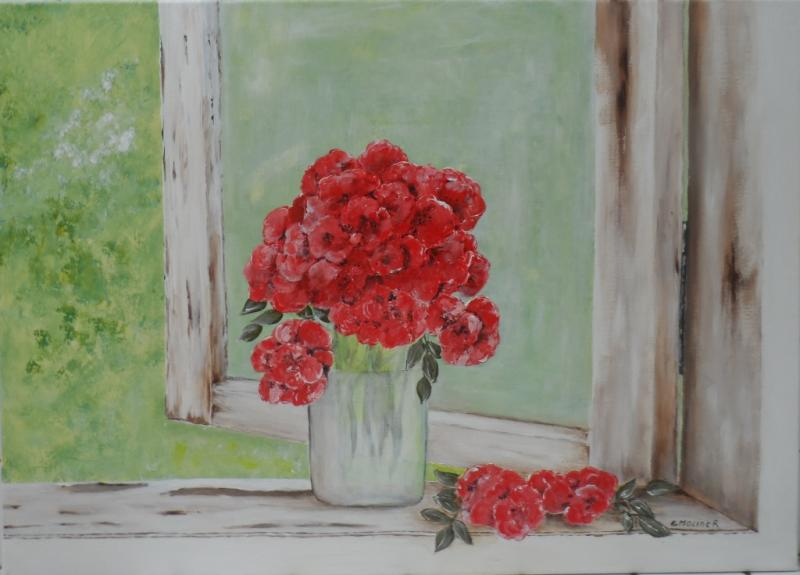 Le bouquet rouge 50x70  200 euro
